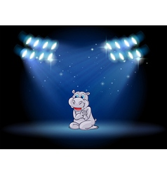 A hippopotamus at the stage with spotlights vector