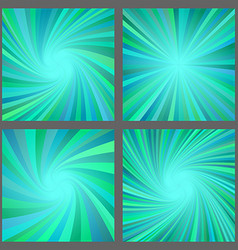 Teal spiral and ray burst background design set vector
