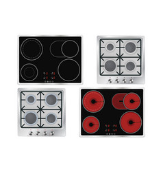 Cooktops gas electric ceramic vector