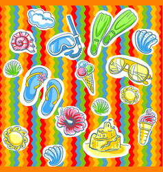 Fun bright summer pattern with flippers vector