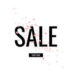 Sale banner with petals vector