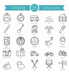 25 Camping Line Icons vector image