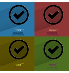 Color set check mark Flat modern web button with vector image