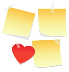 3 yellow notes and a heart vector image vector image