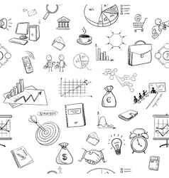 hand draw doodle business finanse elements pattern vector image
