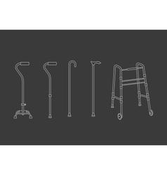 set of walking sticks vector image