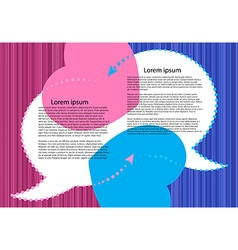 Bubbles for a chat on a pink and blue striped vector