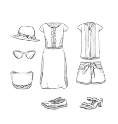 Hand drawn summer clothes for girl vector
