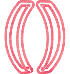 Abstract parenthesis symbol made with red marker vector