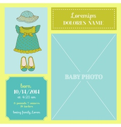 Baby arrival card - with baby girl dress vector
