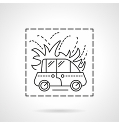 Car fire insurance flat line icon vector image