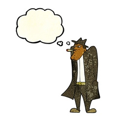 Cartoon man in hat and trench coat with thought vector