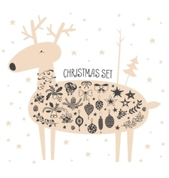 Christmas deer with icon set vector