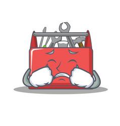 Crying tool box character cartoon vector