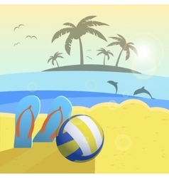 Depicted still life beach volleyball ball palms vector image vector image