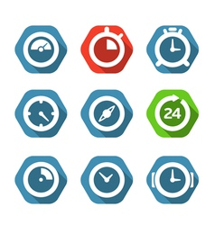 Different clock buttons collection vector image