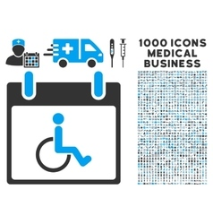 Disabled person calendar day icon with 1000 vector