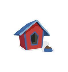 Doghouse booth kennel and bowl for eating vector
