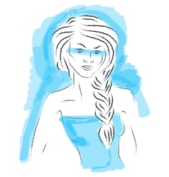 Fashion girl sketch on blue background vector