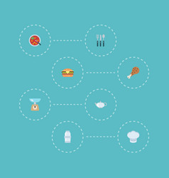 Flat icons spice fast food chef hat and other vector