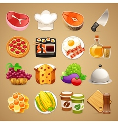 Food and kitchen accessories icons set11 vector