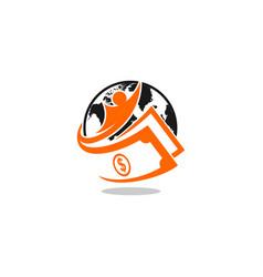 globe cash logo vector image