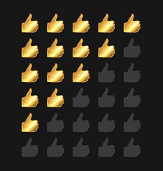Golden rating thumb up panel vector