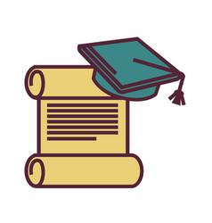Graduation symbols old parchment and square vector