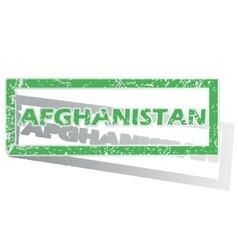 Green outlined afghanistan stamp vector
