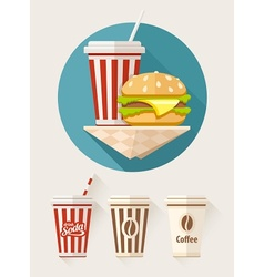 Hamburger and soda in paper vector image vector image