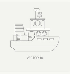 Line flat retro icon comercial tugboat vector