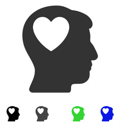 Love heart think flat icon vector