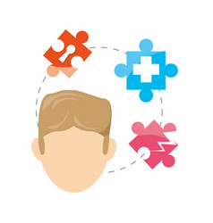 Man and puzzle around and symbols inside vector