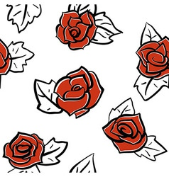Red roses pattern vector
