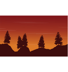 Silhouette tree on the hill landscape vector