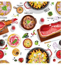 Spanish food seamless pattern vector