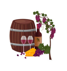 wine barrel and grapes vine templates vector image vector image