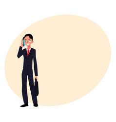 young businessman standing talking by mobile vector image