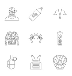 Competition paintball icons set outline style vector
