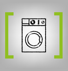 Washing machine sign  black scribble icon vector