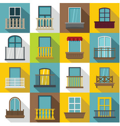 window forms icons set balcony flat style vector image