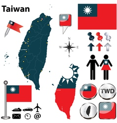Map of taiwan vector