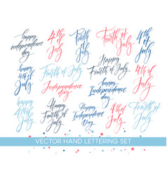 set of independence day hand drawn lettering vector image