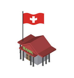 Swiss bank financial building and flag of vector