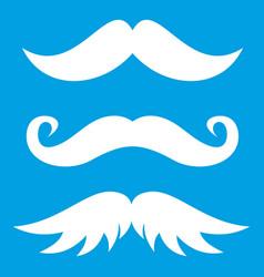 Moustaches icon white vector
