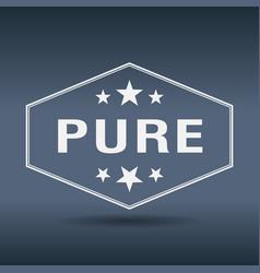 Pure hexagonal white vintage retro style label vector