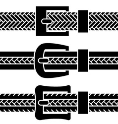 Buckle braided belt black symbols vector