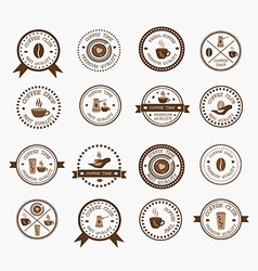 Set of vintage style elements of coffee shop vector