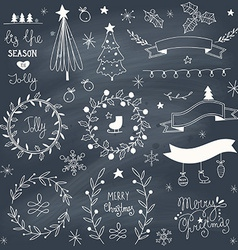 Set of hand drawn christmas elements vector