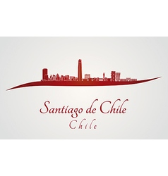 Santiago de chile skyline in red vector